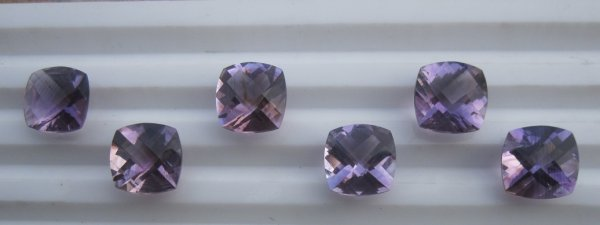 Amethyst Cut 10mm cushion checker cut AA