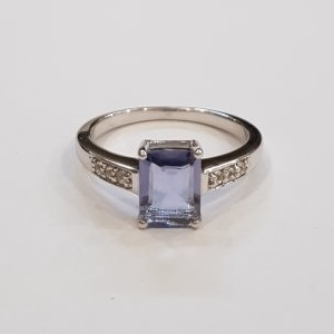 Natural iolite octagon ring