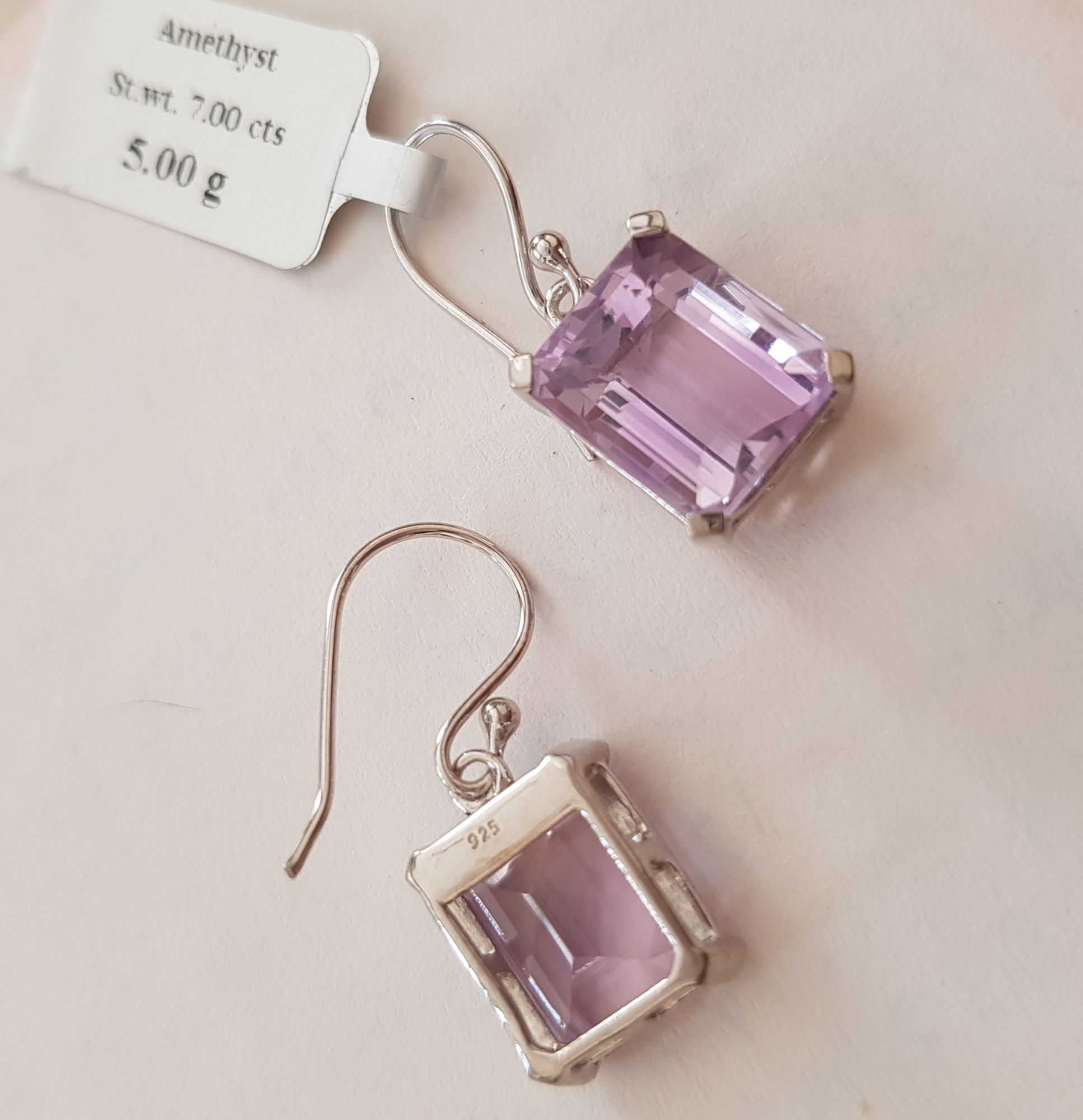 Amethyst octogan earwire earrings