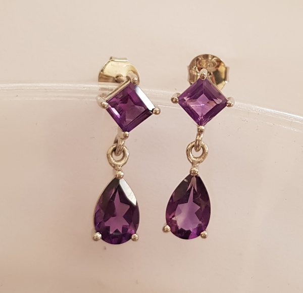 Amethyst square and pear cut earrings