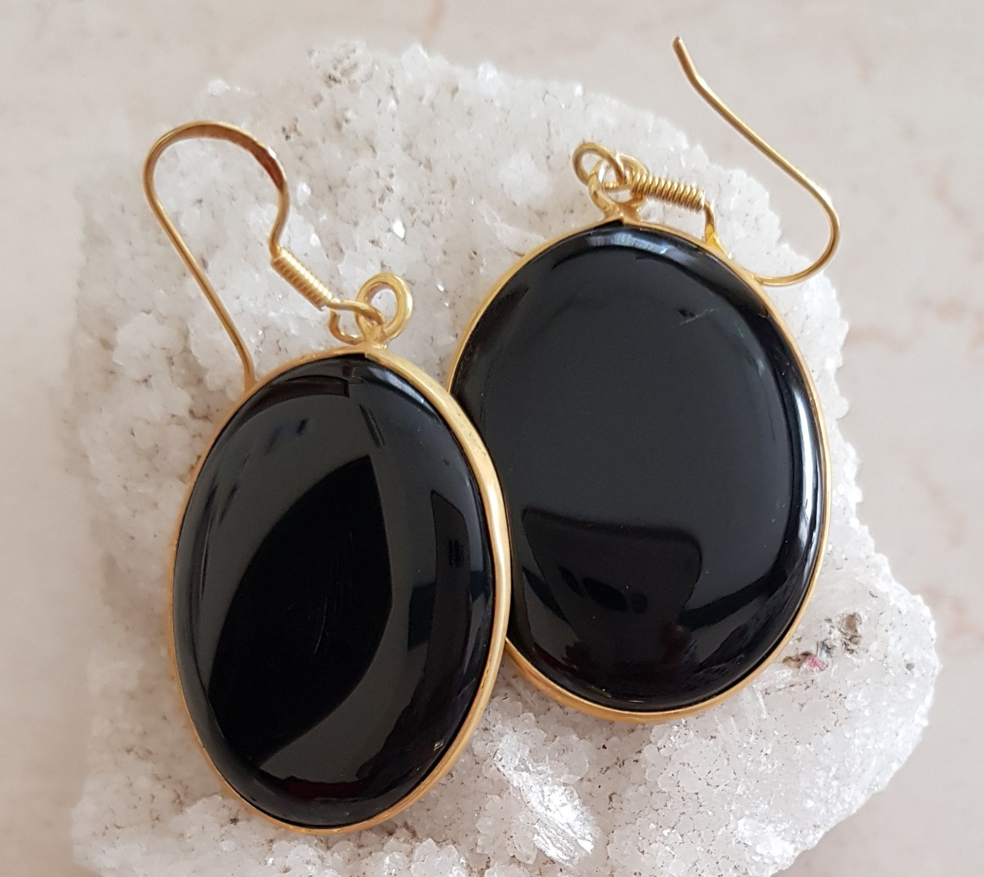 Black onyx pendant earrings three piece set