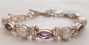 Pearl and Amethyst Silver bracelet