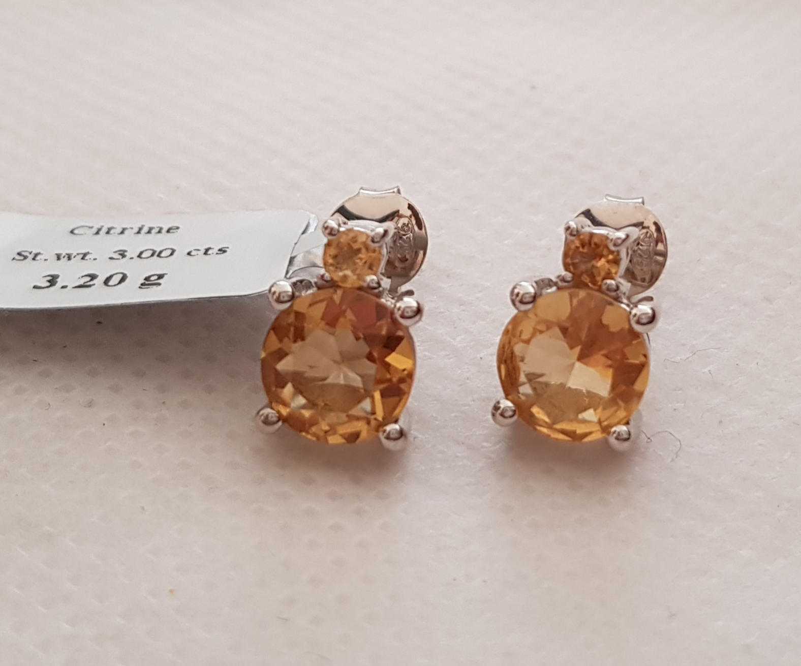 Citrine solitaire studs