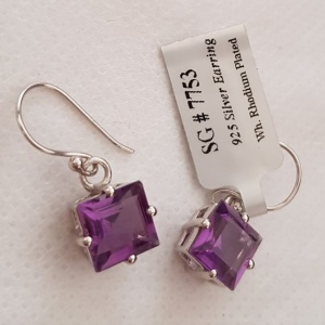 Amethyst earwire earrings