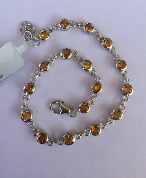 Bracelet citrine round cut 4mm
