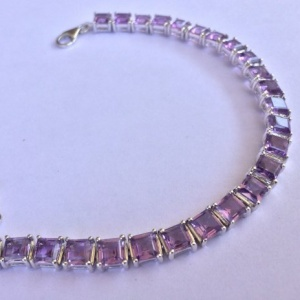 Bracelet Amethyst square step 5mm
