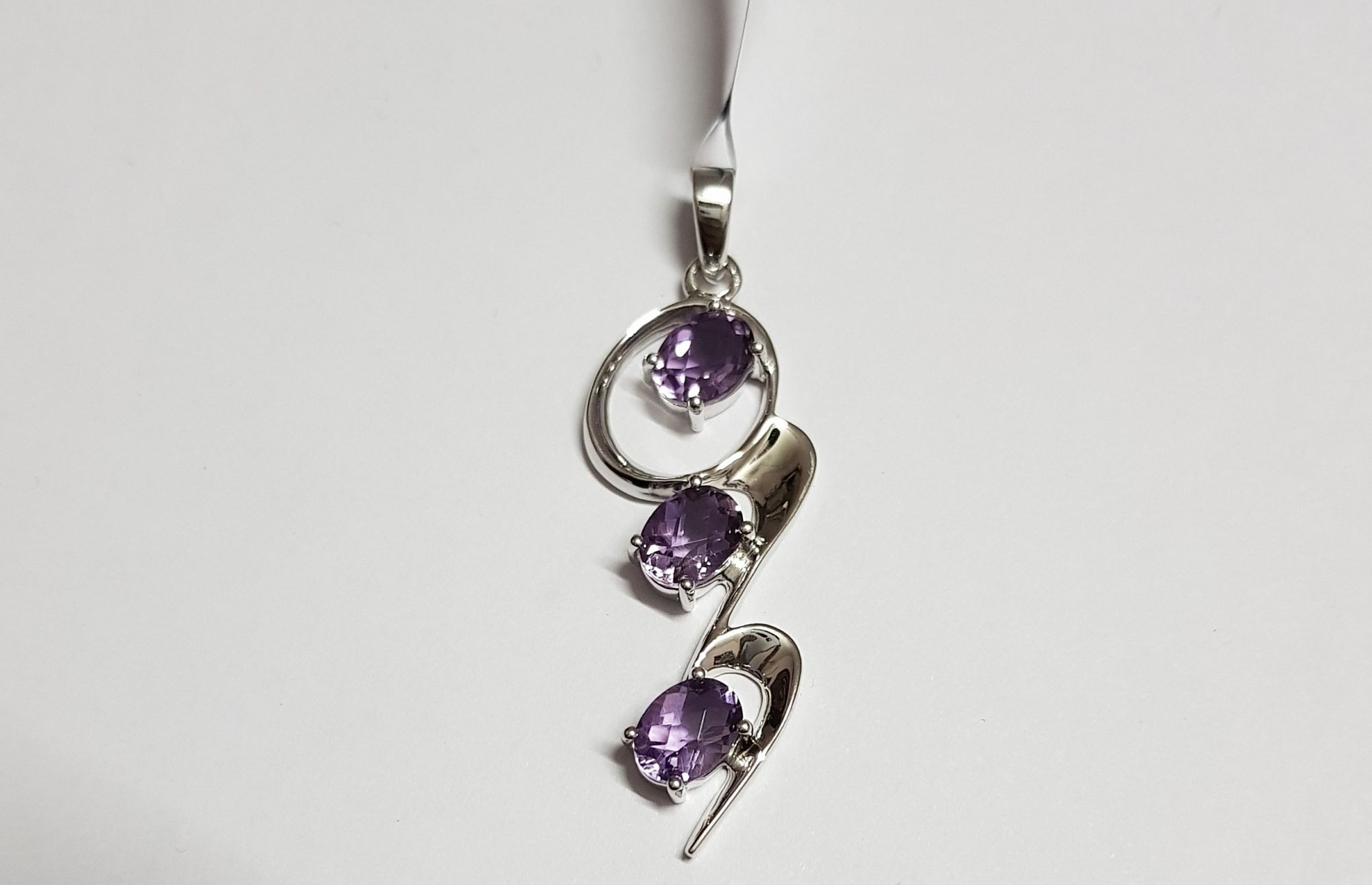 Contemporary amethyst oval pendant