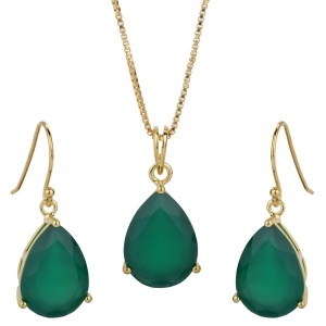 Green onyx 925 silver Earring Pendant Set