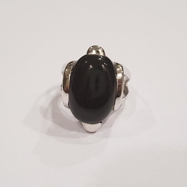 Sterling Silver Black Onyx Ring For Men Women