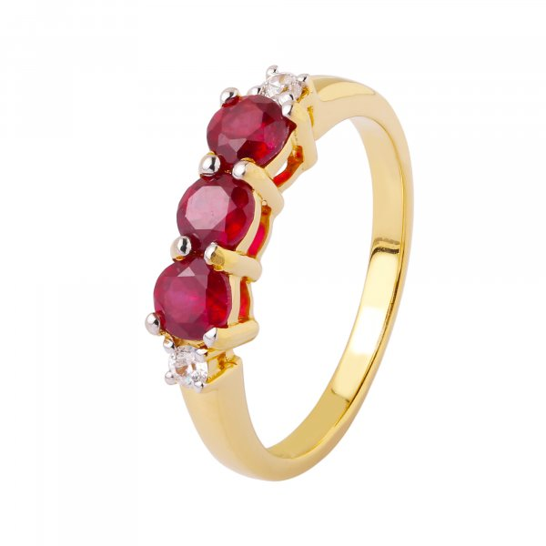 ruby white topaz ring gold plated