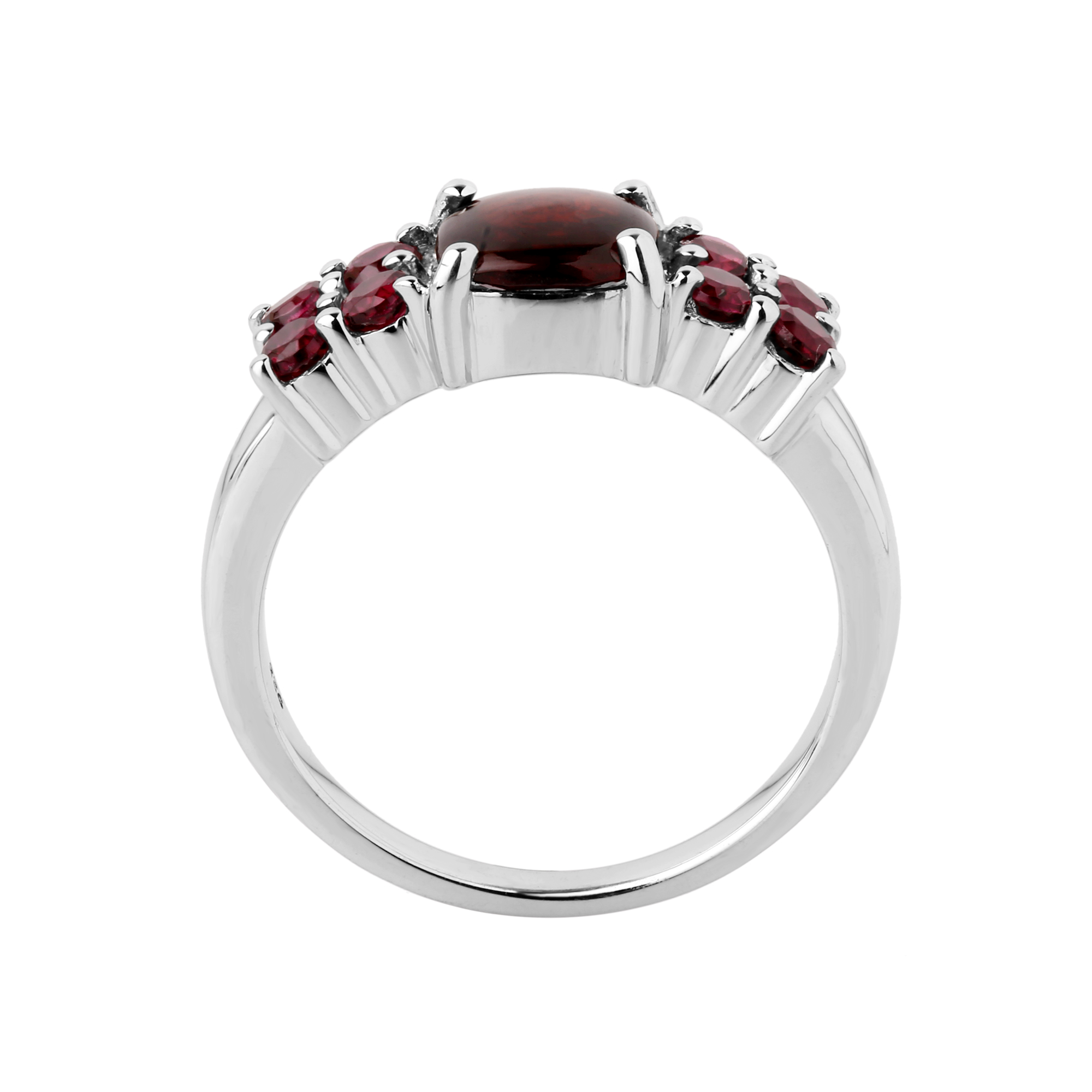 Garnet cushion solitaire ring