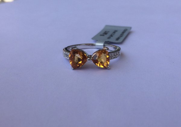Trillion bow citrine ring