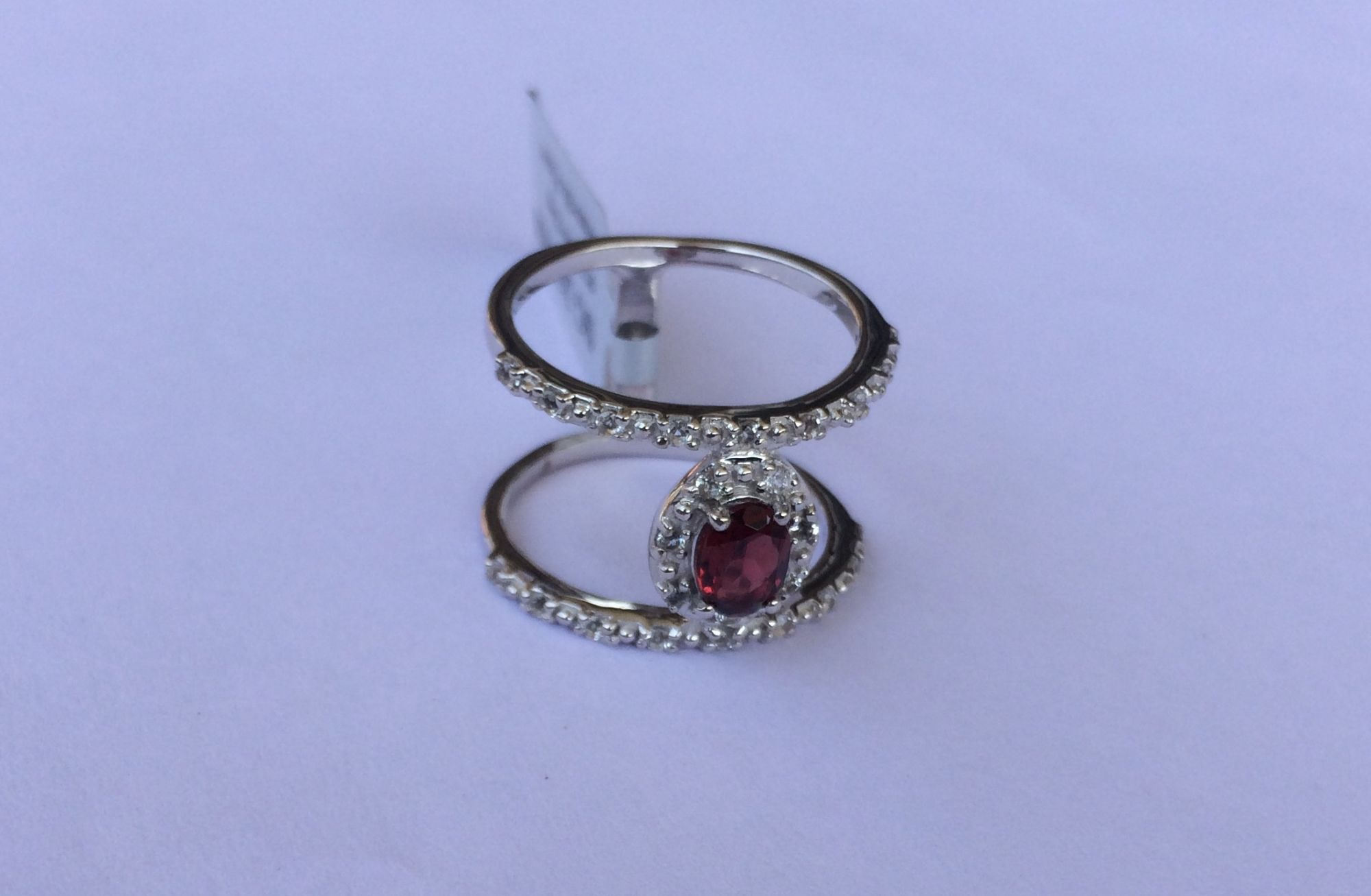 Modern double band design - garnet ring