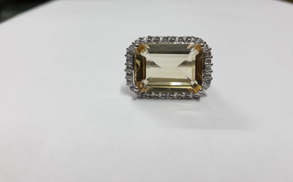 Citrine octagon cocktail ring