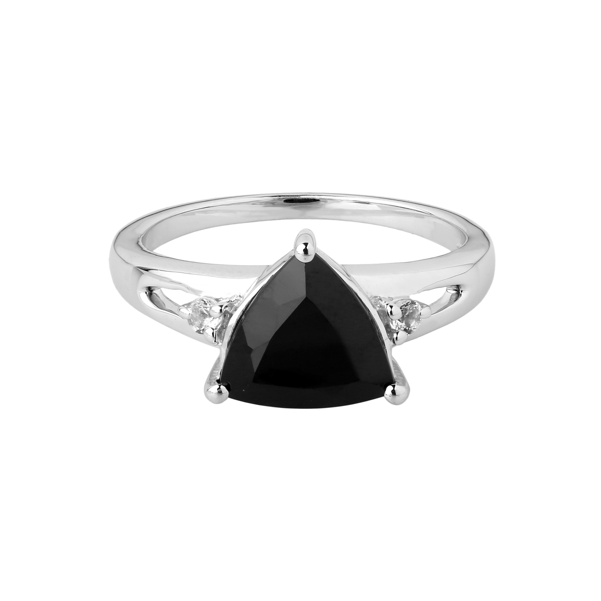 Black spinel trillion solitaire ring