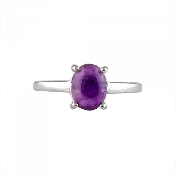 Amethyst Solitaire 2ct Silver Ring