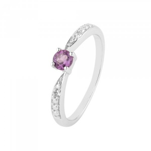 Amethyst White Topaz 925 Sterling Silver Ring