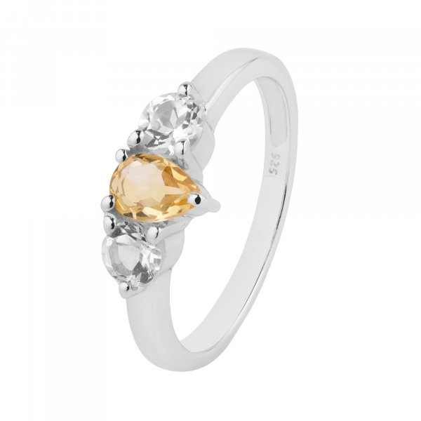 Citrine White Topaz 925 Sterling Silver Ring