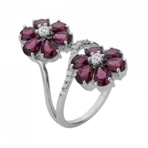 Flower Pattern Silver Rhodolite Ring
