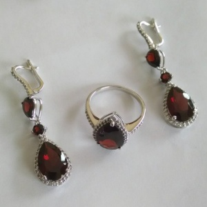 Garnet 925 Silver Ring Earring Set