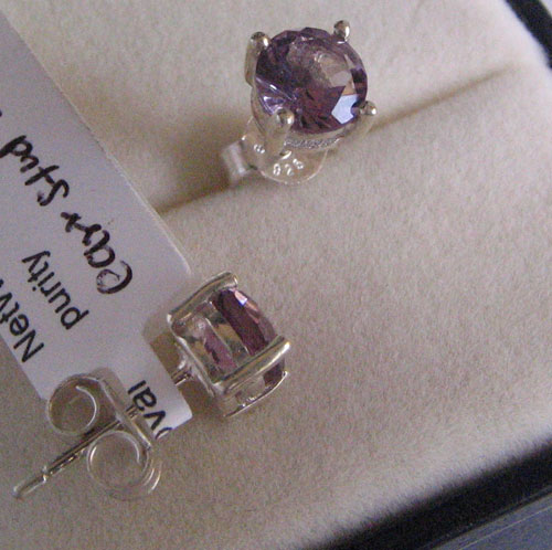 5mm stud Ear Ring With Garnet & Amethyst