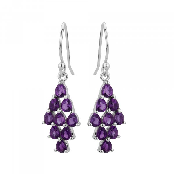 Amethyst pear 925 silver earrings