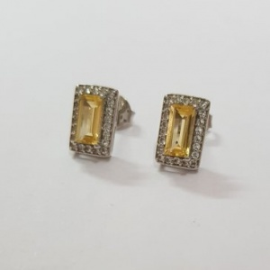 Earrings with White topaz and Citrine