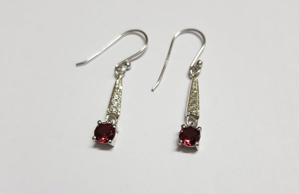 Garnet earwire gold Earrings