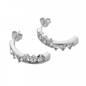 ShahGems Genuine Swarovski 925 silver Women's Earrings Half Hoops (Swarovski Collection)