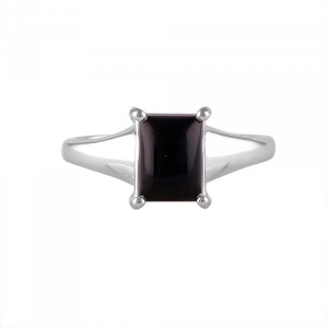 Black onyx solitaire 2.5ct Silver Ring