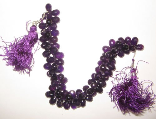 Af. amethyst faceted drop beads
