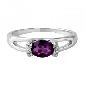 Amethyst bar setting ring