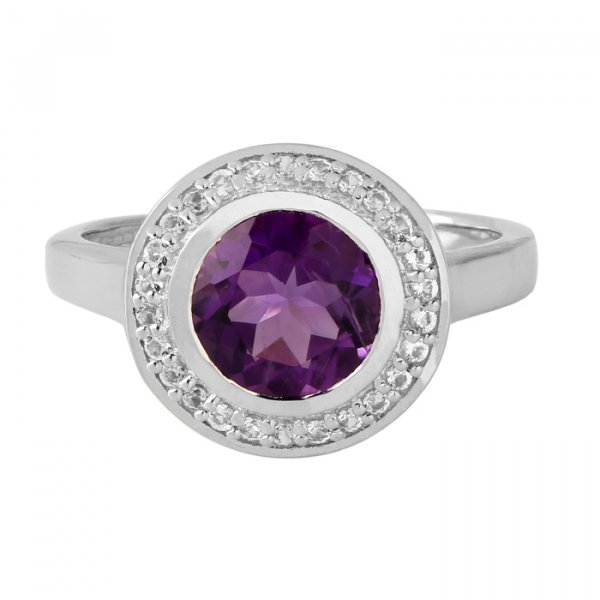 Amethyst bezel set ring with white topaz