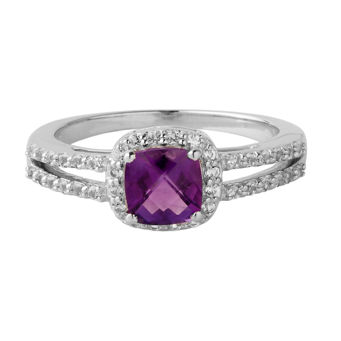 Amethyst cushion checkerboard cut ring