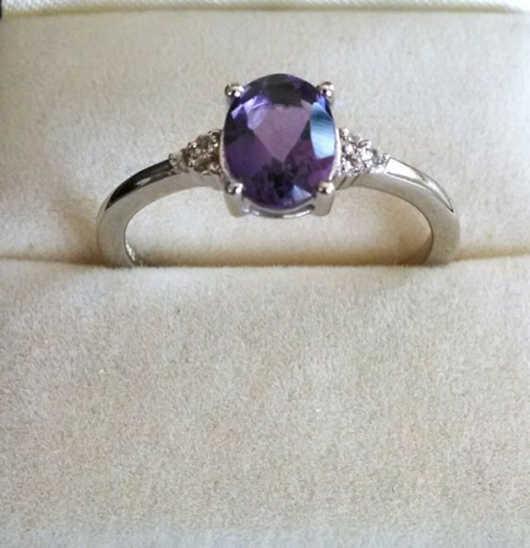 Amethyst oval solitaire ring