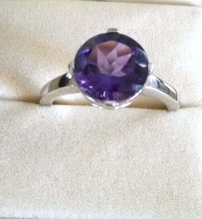 Amethyst round big solitaire ring