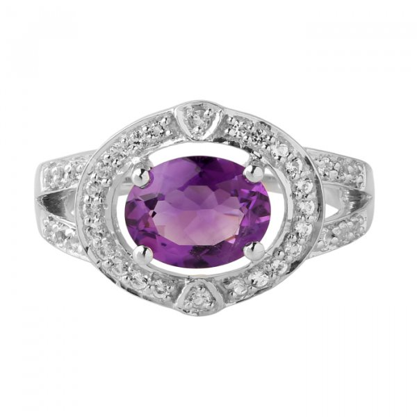 Amethyst white topaz ring