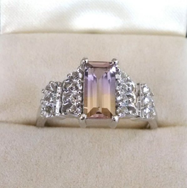 Ametrine solitaire ring