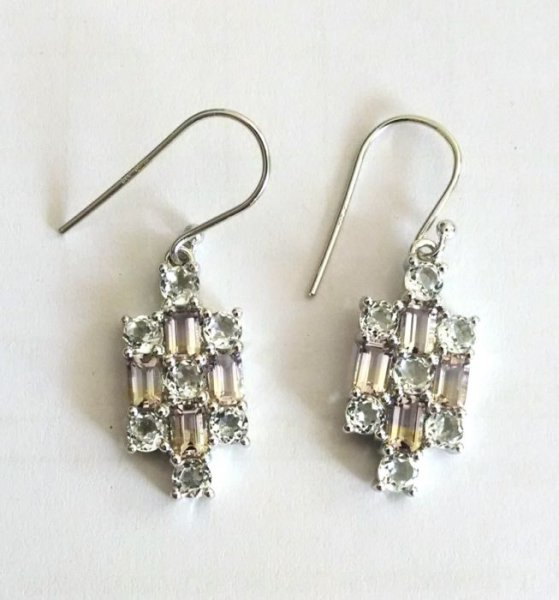Ametrine white topaz dangling earrings
