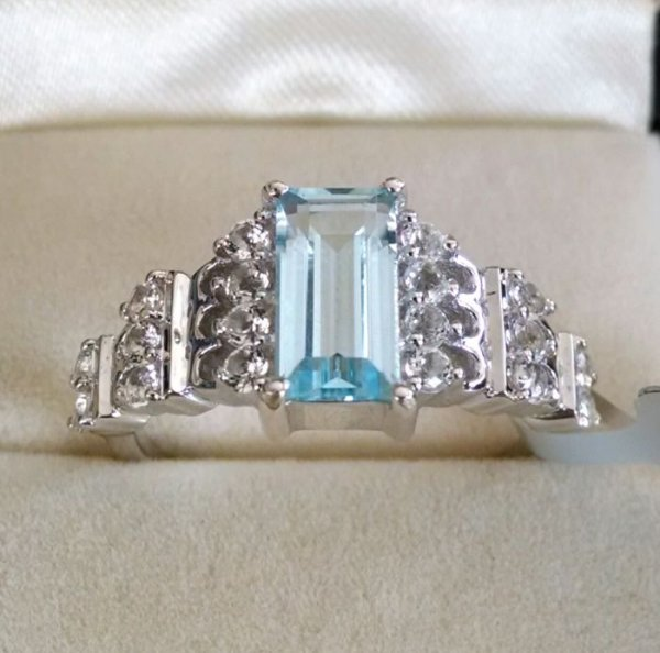 Big Blue topaz Baguette with white topaz ring