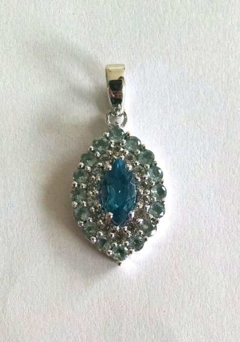 Blue topaz and white topaz marquise pendant