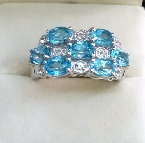 Blue topaz Cluster ring