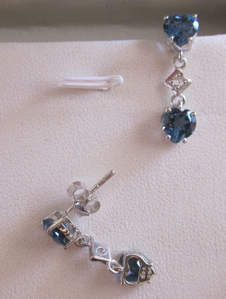 Blue, White topaz earring