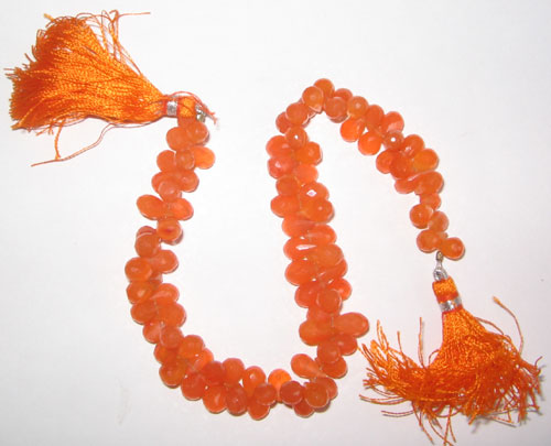 Carnelian faceted drop beads
