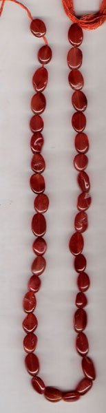 Carnelian plain oval gem beads