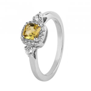 Citrine cushion ring