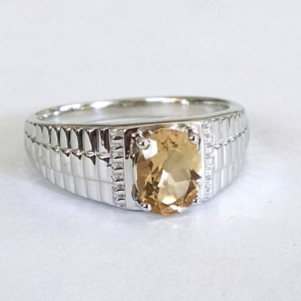 Citrine men's chunky ring