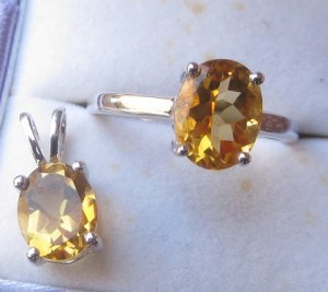 Citrine set ring and pendant