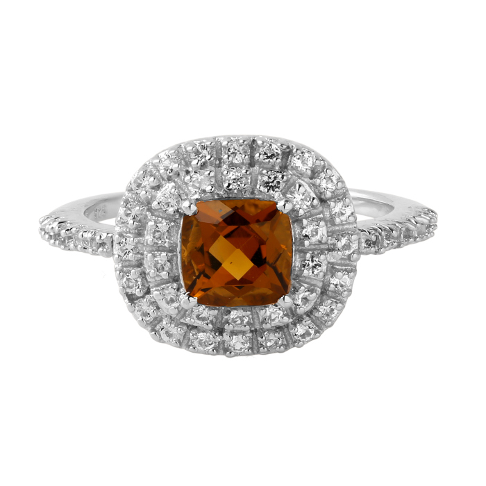 Cognac Citrine cushion ring