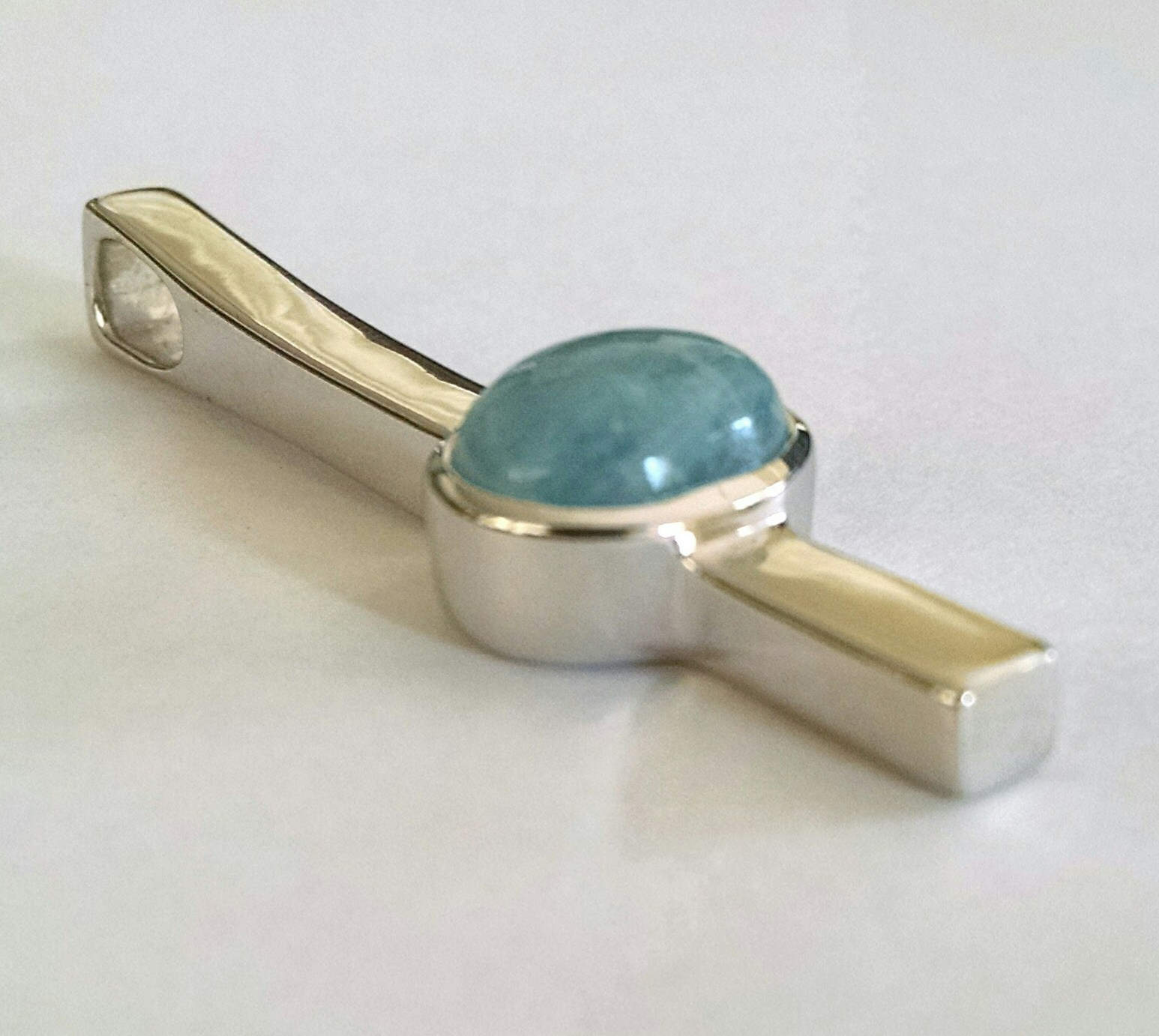 Contemporary milky aquamarine pendant